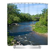 River Passing Through A Forest, Beaver Shower Curtain