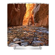 River Rocks In The Narrows Shower Curtain