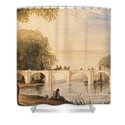 River Scene With Bridge Of Six Arches Shower Curtain by Robert Hindmarsh Grundy