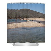 The Black River In Winter Shower Curtain