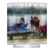 River Speed Boat Photo Art Shower Curtain