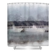 River Speed Boat Racing Photo Art Shower Curtain