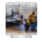 River Speed Boat White Photo Art Shower Curtain