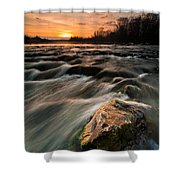 River Sunset Shower Curtain by Davorin Mance