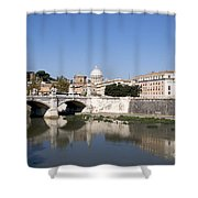 River Tiber With The Vatican. Rome Shower Curtain