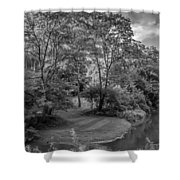 River Tranquility Monochrome Shower Curtain