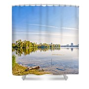 River Trees And City Skyline Shower Curtain