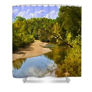River View With Reflections - Digital Paint Shower Curtain