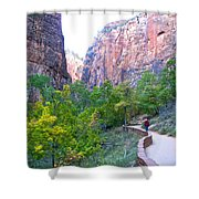 River Walk In Zion Canyon In Zion Np-ut Shower Curtain