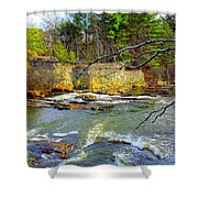 River Wall Shower Curtain