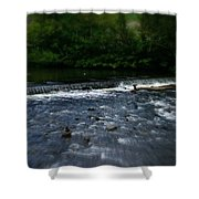 River Wye Waterfall - In Peak District - England Shower Curtain