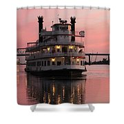 Riverboat At Sunset Shower Curtain