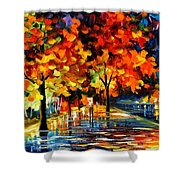 Rivershore Park - Palette Knife Oil Painting On Canvas By Leonid Afremov Shower Curtain