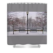 Riverside Overlook In Snowfall Shower Curtain