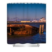 Riverside Wreck Shower Curtain by Dawn OConnor
