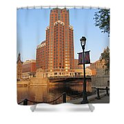 Riverwalk And Lamp Post Shower Curtain