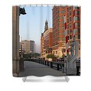 Riverwalk Bridge Crossing Shower Curtain