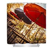 Riverwalk Umbrellas Shower Curtain