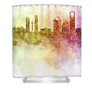 Riyadh Skyline In Watercolour Background  Shower Curtain