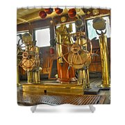 Rms Queen Mary Bridge Well-polished Brass Annunciator Controls And Steering Wheels Shower Curtain