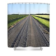 Road Across North Dakota Prairie Shower Curtain
