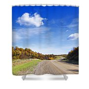 Road Approaching Hill Shower Curtain