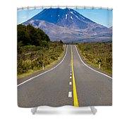 Road Leading To Active Volcanoe Mt Ngauruhoe In Nz Shower Curtain