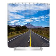 Road Leading To Active Volcanoe Mt Ngauruhoe Nz Shower Curtain