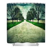 Road Lined By Trees Shower Curtain