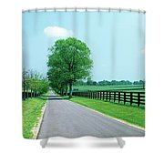 Road Passing Through Horse Farms Shower Curtain