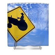 Road Sign Tractor Crossing Shower Curtain