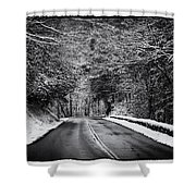 Road Through Dark Snowy Forest E93 Shower Curtain