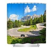 road to Pordoi pass Shower Curtain