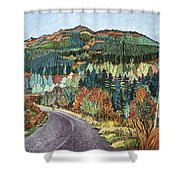 Road To Torloisk, 2008 Wc And Ink Shower Curtain