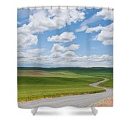 Road Winding Through The Palouse Wheatfields Shower Curtain