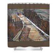 Road With Dense Fencing  Shower Curtain
