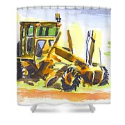 Roadmaster Tractor In Watercolor Shower Curtain by Kip DeVore