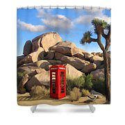 Phone Booth In Joshua Tree Shower Curtain