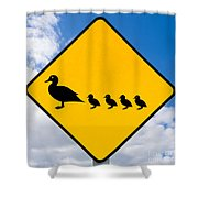 Roadsign Warning Ducks With Ducklings Crossing Shower Curtain