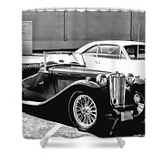 Roadster In Black And White Shower Curtain