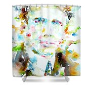 Robert Frost . Watercolor Portrait Shower Curtain
