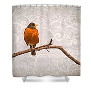 Robin With Damask Background Shower Curtain