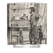 Robinson Crusoe Building Table And Chairs For His Cave Shower Curtain