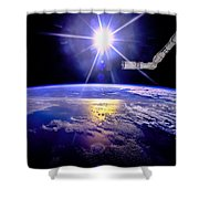 Robot Arm Over Earth With Sunburst  Shower Curtain