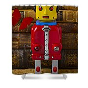 Robot With Butterfly Shower Curtain