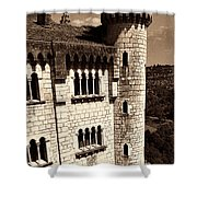 Rocamadour Stone Tower Vertical Panorama Sepia Shower Curtain