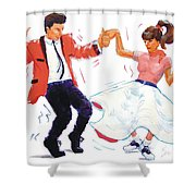 Rock And Roll Dancers Shower Curtain