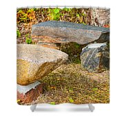 Rock Bench And Table Shower Curtain