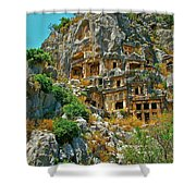 Rock-carved Tombs In Myra-turkey Shower Curtain