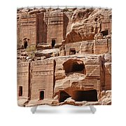 Rock Cut Tombs On The Street Of Facades Petra Jordan Shower Curtain